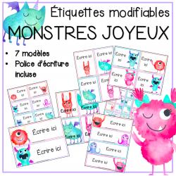 Étiquettes modifiables - Monstres joyeux