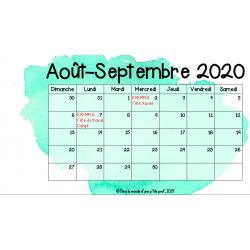 Calendrier 2020-2021 pour TNI