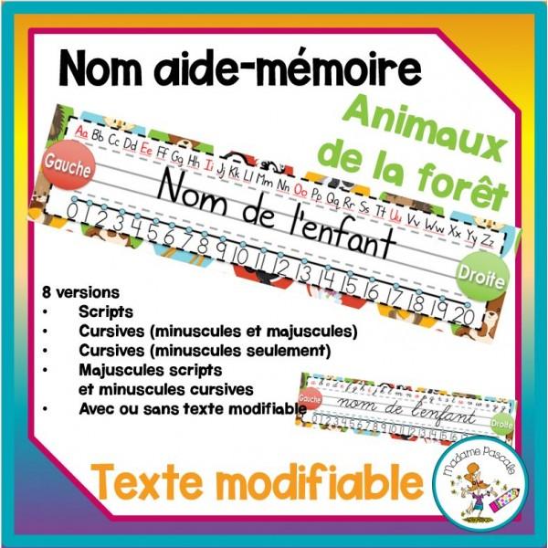 Étiquette nom aide-mémoire - animaux de la forêt