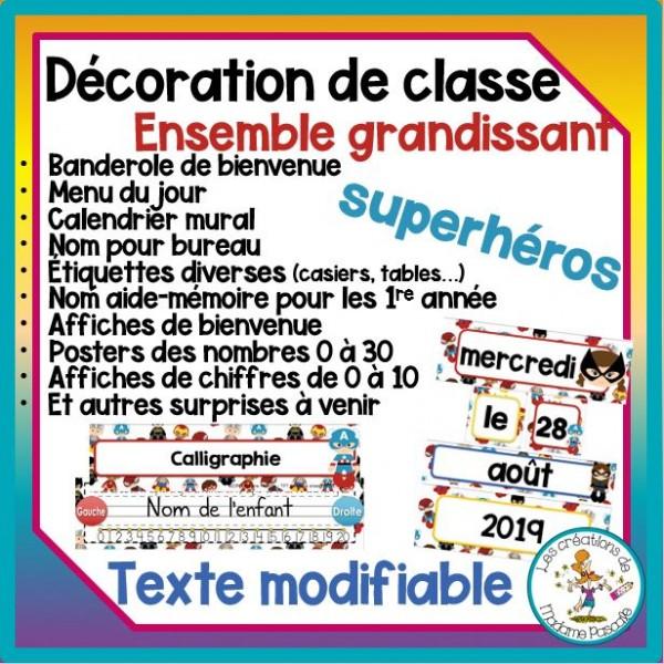 Décoration de classe - Superhéros