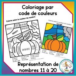 Coloriage par code - nombres de 11 à 20