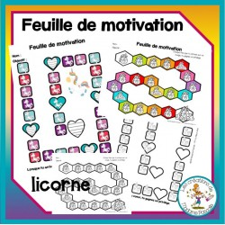 Feuilles de motivation - licorne