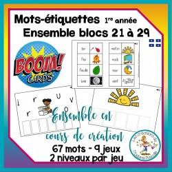 Étude de mots - blocs 21 à 29 - Boom Cards