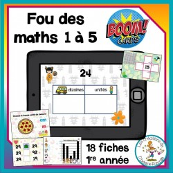 Fou des maths 1 à 5 - Boom Cards