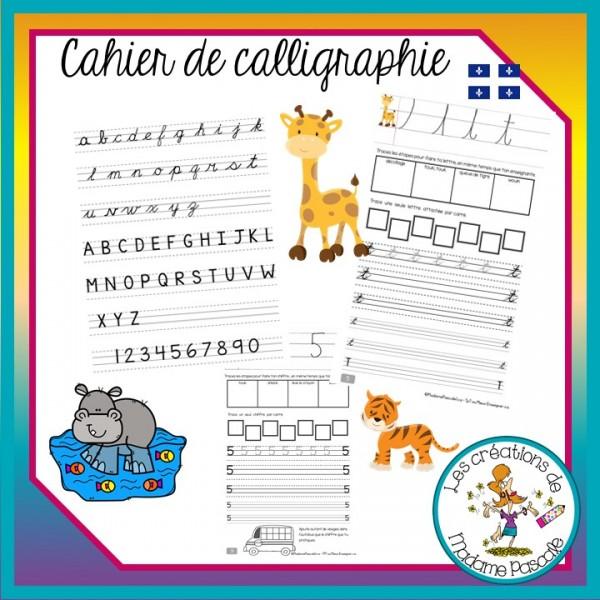 Cahier de calligraphie cursive - trottoirs qc