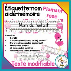 Étiquettes nom aide-mémoire - flamants roses