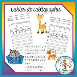 Cahier de calligraphie cursive