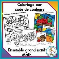Coloriage par code - math - ensemble grandissant