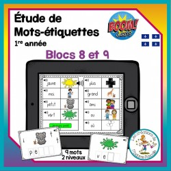 Étude de mots - blocs 8-9 - Boom Cards