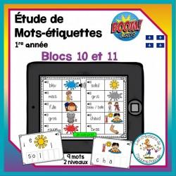 Jeu de cartes Boom - étude de mots - blocs 10-11