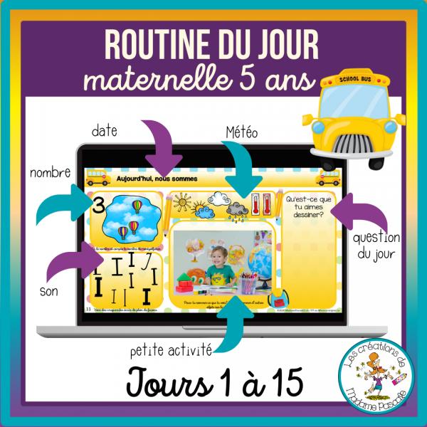 Routines du jour Maternelle 5 ans - jours 1 à 15