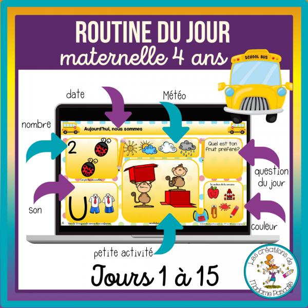 Routines du jour Maternelle 4 ans - jours 1 à 15