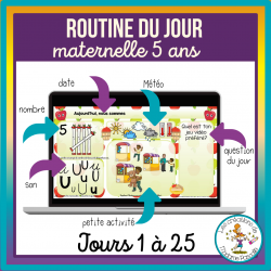 Routines du jour Maternelle 5 ans - jours 1 à 25