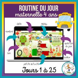 Routines du jour Maternelle 4 ans - jours 1 à 25