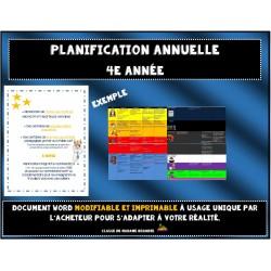 Planification annuelle détaillée 4e année