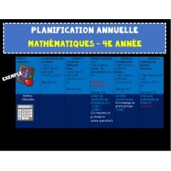 Planification annuelle MATHS 4e année