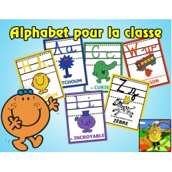 Alphabet Cursif Monsieur Madame - Affiches classe