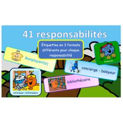 Étiquettes des tâches et responsabilités