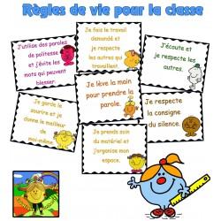 Règle de vie de la classe - Monsieur Madame
