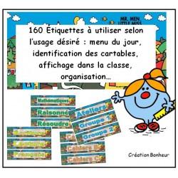 Étiquettes pour l'organisation de la classe