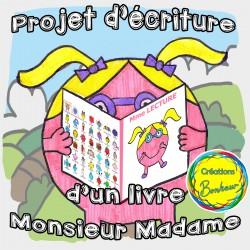 Projet d'écriture d'un livre Monsieur Madame