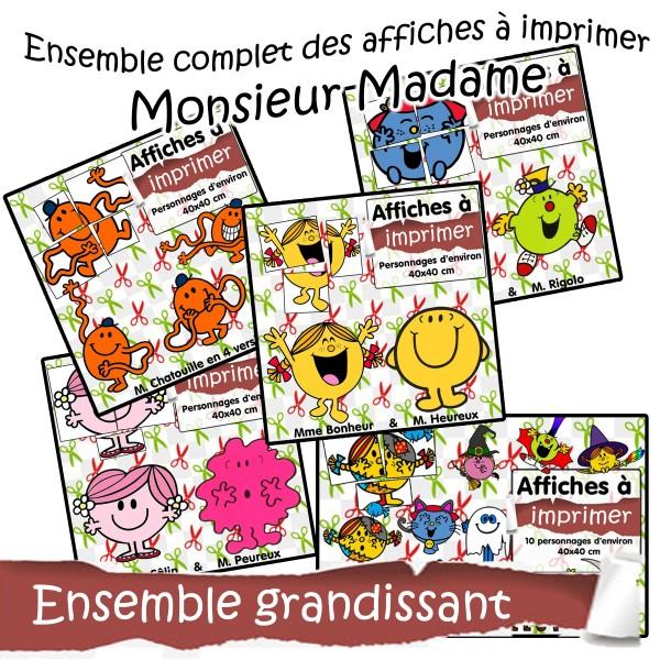 BUNDLE - Affiches à imprimer Monsieur Madame