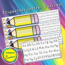 Étiquettes crayons - Écriture cursive