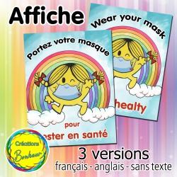 Portez votre masque - Affiche Mme Bonheur