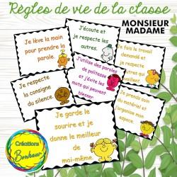 Règles de vie de la classe - Monsieur Madame
