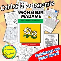 Cahier d'autonomie Monsieur Madame
