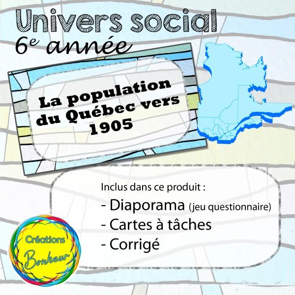 La population du Québec vers 1905