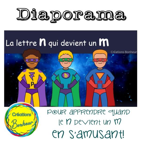 Diaporama - Le n qui devient un m devant b, p et m