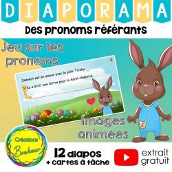 Des pronoms référents - jeu de lecture de Pâques