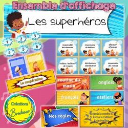 Les superhéros - Ensemble d'affichage complet