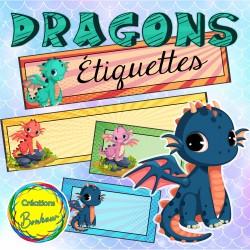 Les dragons - étiquettes variées