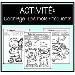 Activité: Coloriage- Les mots fréquents