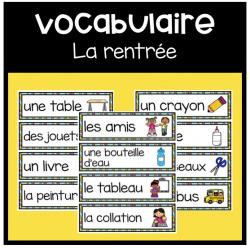 Cartes de vocabulaire: La rentrée