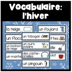 Cartes de vocabulaire: l'hiver