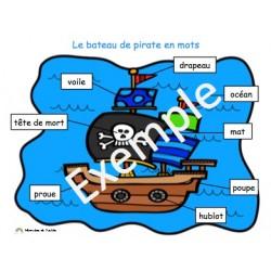 Le bateau de pirate en mots