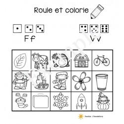 Roule et colorie v et f: son initial