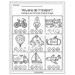 Moyens de transport - son initial à colorier