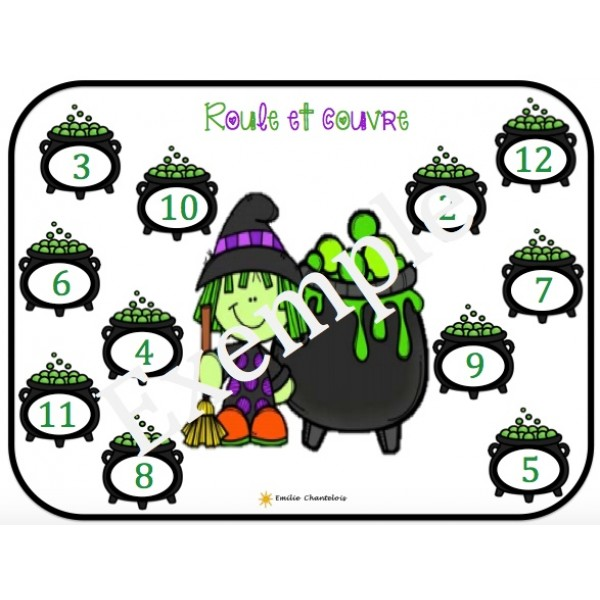 Roule et couvre, roule et colorie de l'Halloween
