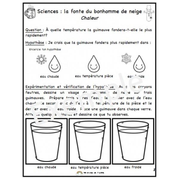 Sciences : la fonte du bonhomme de neige (chaleur)