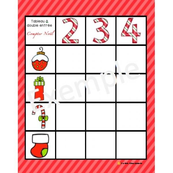 Tableau à double entrée-Dénombrer Noël
