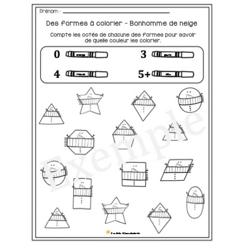 Coloriage A Imprimer Karla Gerard.Des Formes A Colorier Bonhomme De Neige