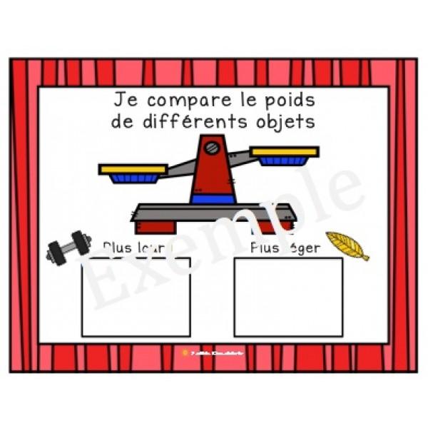 Je compare le poids de différents objets (balance)