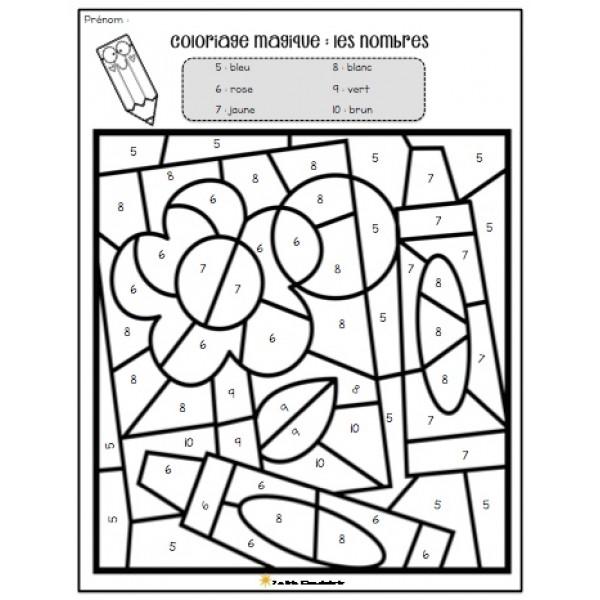 Coloriage magique- nombres 6 à 10