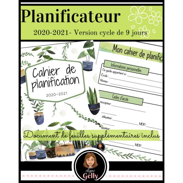 Planificateur 2020-2021- Primaire (9 jours)