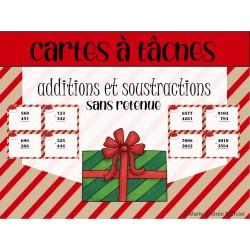 Cartes à tâches additions et soustractions Noël