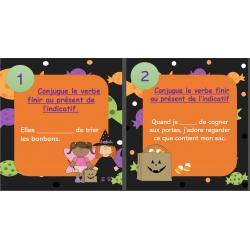 Cartes à tâche finir présent indicatif Halloween